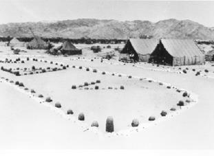 Historical photo of a camp during World War II.  BLM Photo