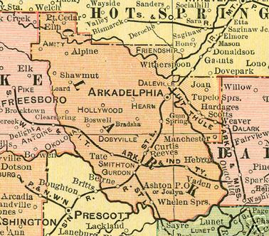Early map of Clark County,  Arkansas including Arkadelphia, Amity, Gurdon, Okolona, Gum Springs