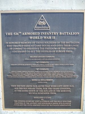 The 526th Armored Infantry Battalion Marker Photo, Click for full size